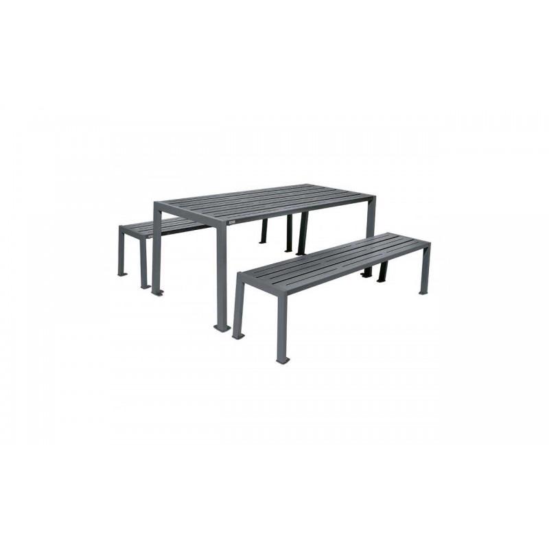 TABLE DE PIQUE-NIQUE ACIER FUSAIN RAL GRIS PROCITY