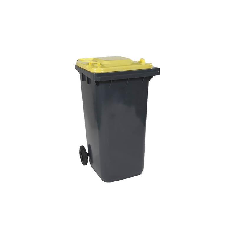 BAC ROULANT 2 ROUES 120 L cuve gris anthracite couvercle jaune