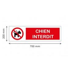 PANNEAU IMPRIME - CHIENS INTERDITS - 700 x 200 mm