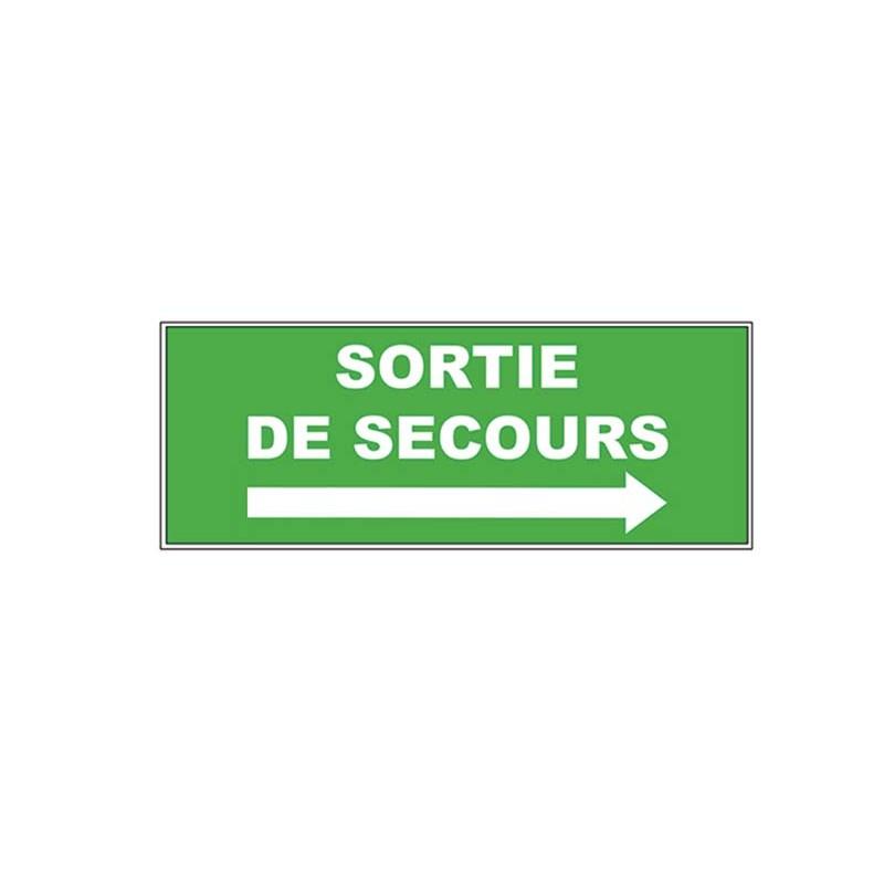 PANNEAU RECTANGULAIRE PVC ADHESIF - sortie de secours - flèche à droite