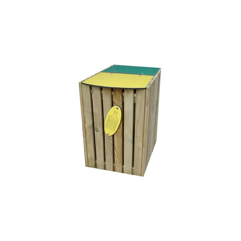 CORBEILLE TRI SÉLECTIF AVEC COUVERCLE jaune / vert