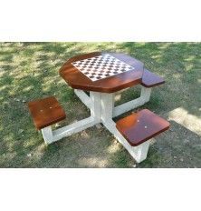 TABLE JEU DAMIER/ÉCHIQUIER béton